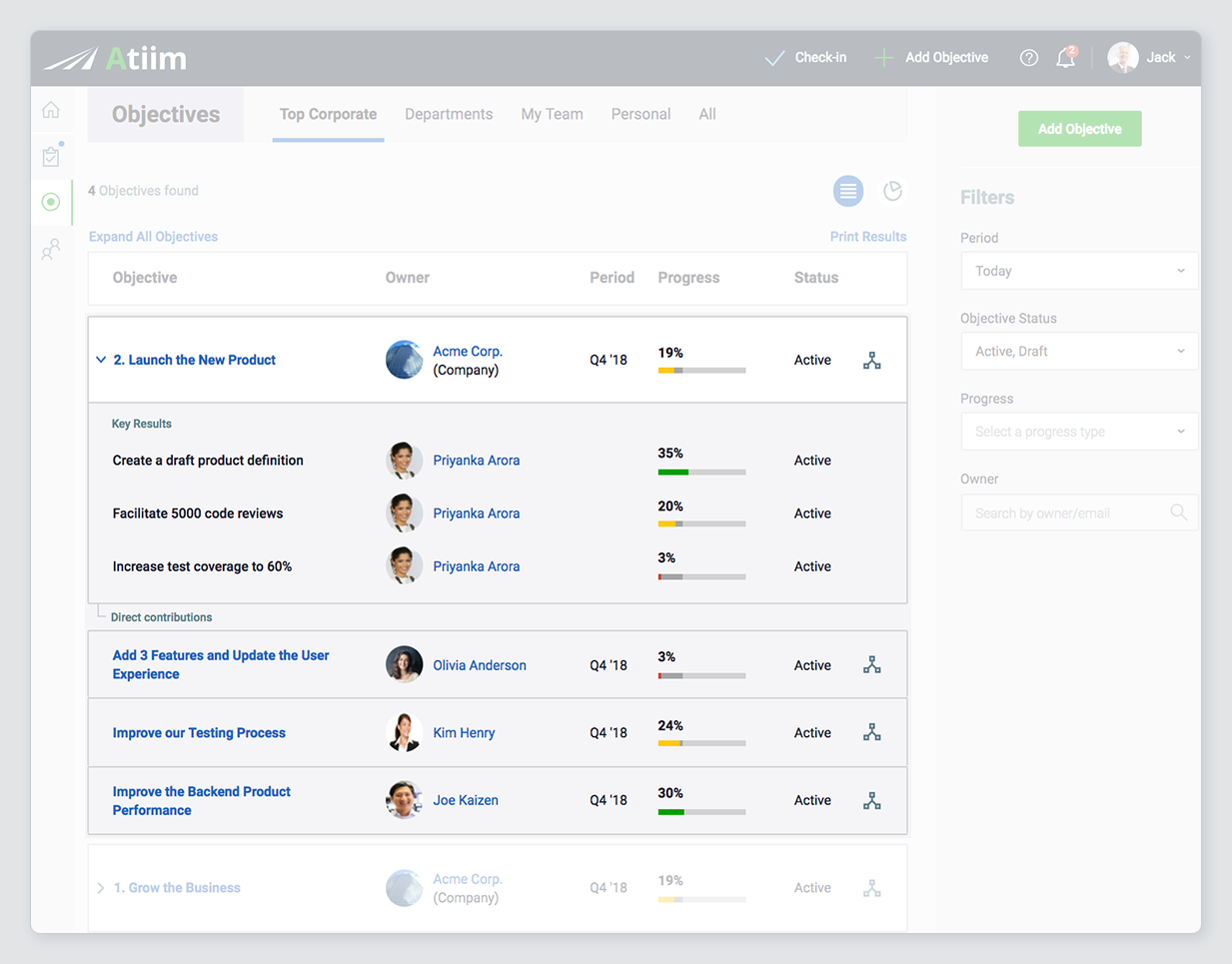 Atiim Demo - Set and Manage Measurable Objectives