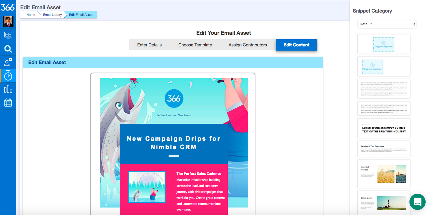 366 Degrees Demo - Email Creation Page