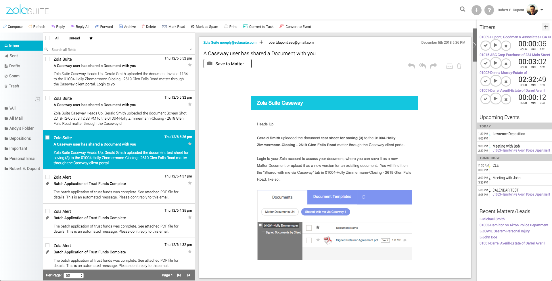 Zola Suite Demo - Built-In Email Client