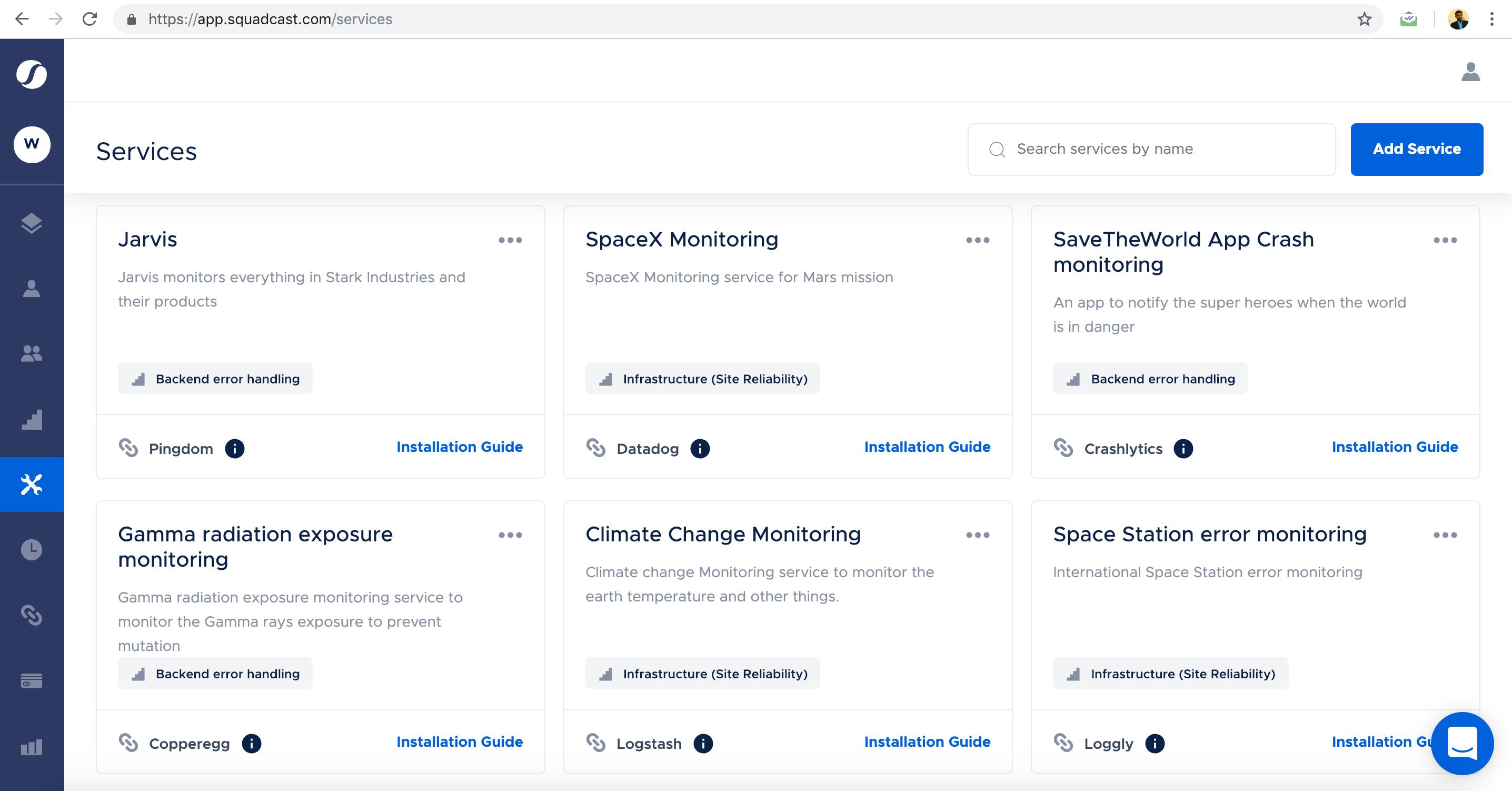 Squadcast Demo - Services page
