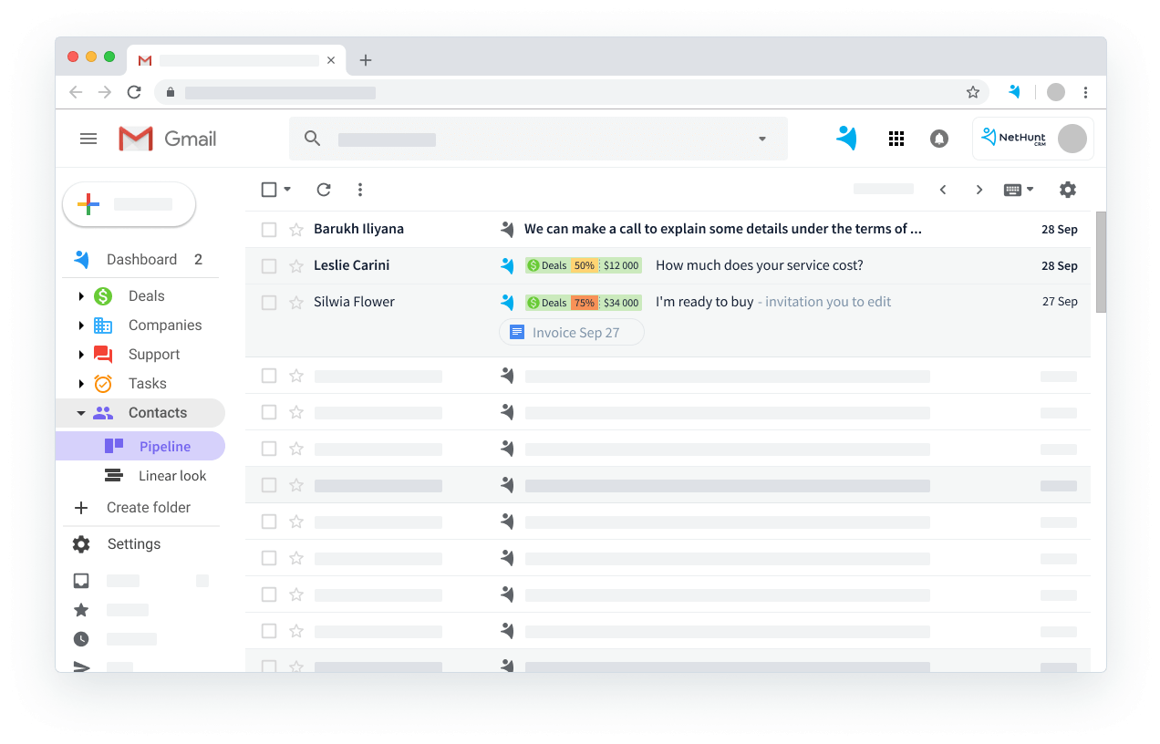 NetHunt CRM Demo - Gmail integration - email view