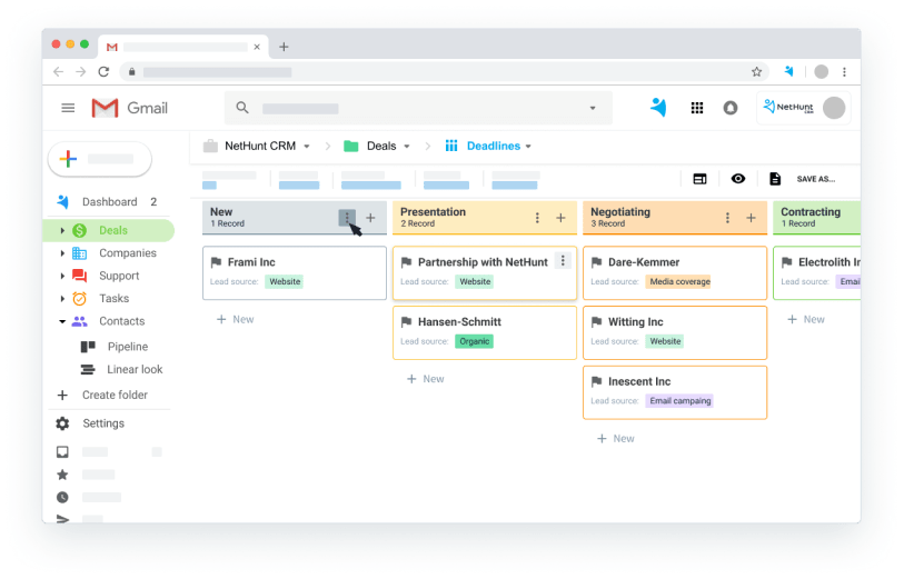 NetHunt CRM Demo - Gmail integration - CRM pipeline view