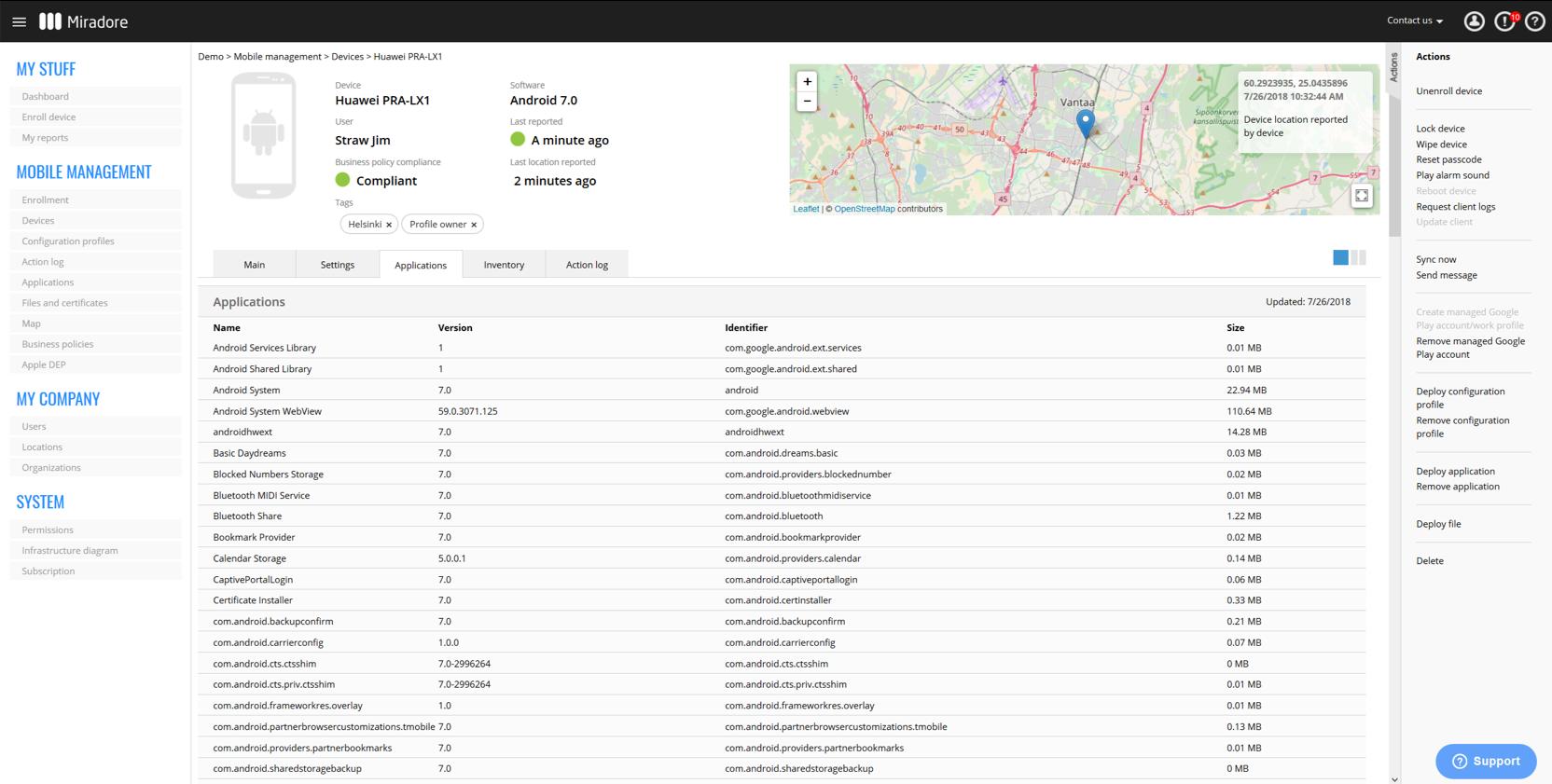 Miradore Online Demo - Application inventory