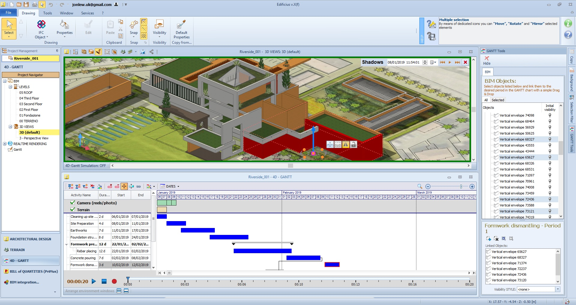 Edificius Demo - 4D BIM with activity planning and time scheduling