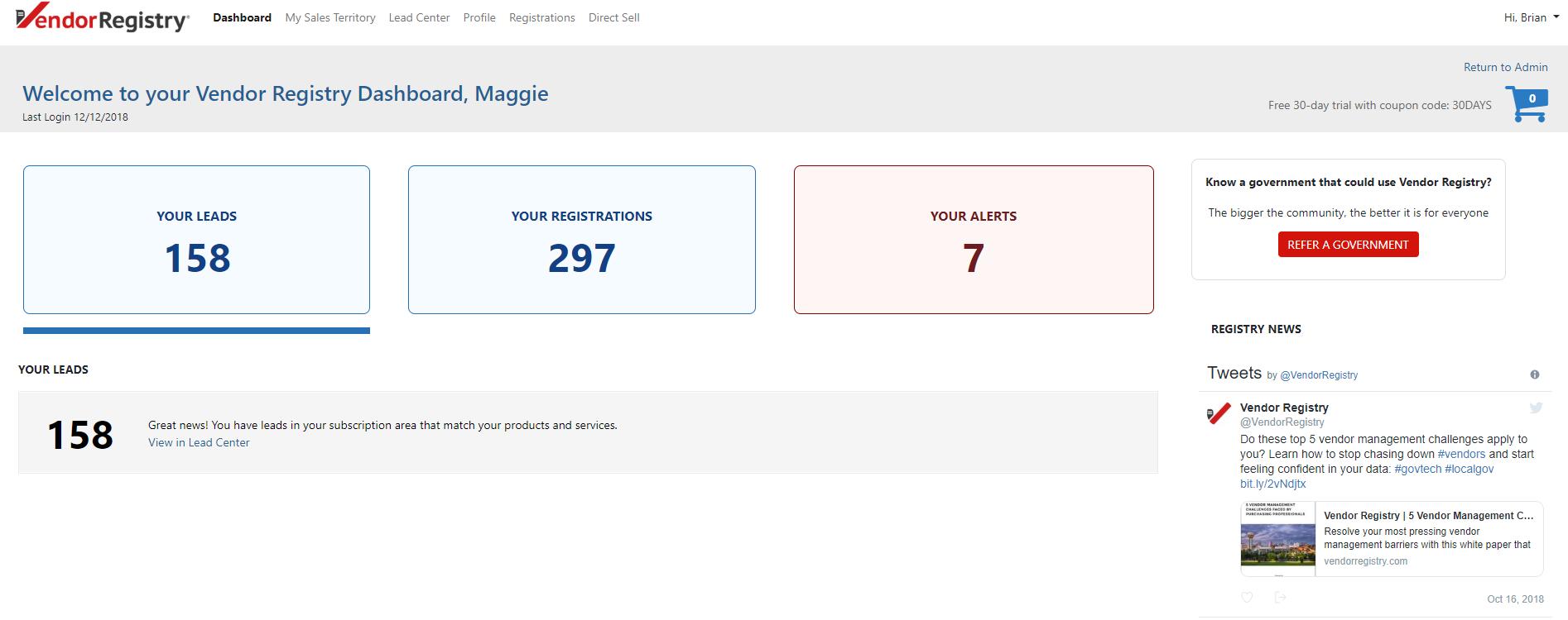 Vendor Registry Demo - Vendor Dashboard