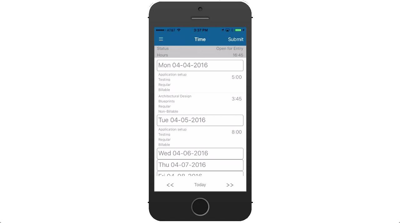 Journyx Demo - Journyx Mobile App