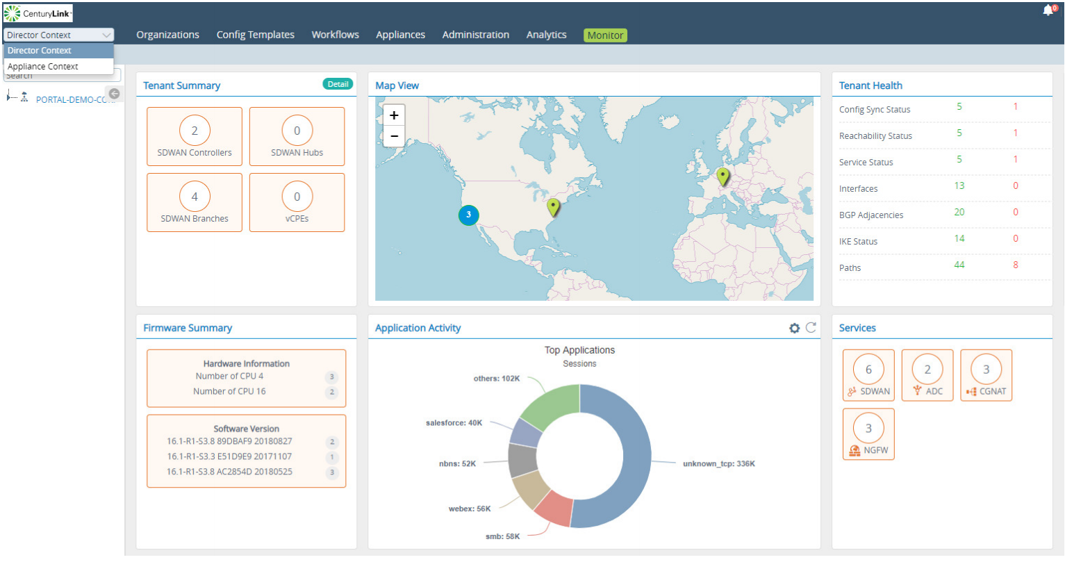 CenturyLink SD-WAN Solutions Demo - versa_sdwan_screenshot