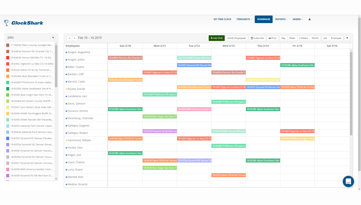 ClockShark Demo - Schedule by Job or Employee