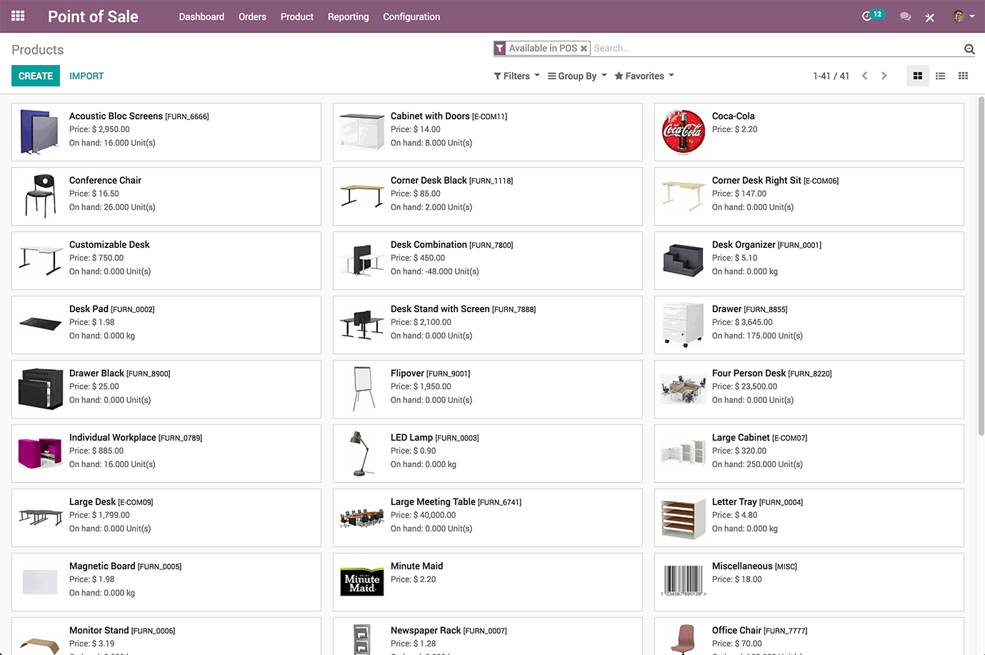 Odoo Point of Sale Demo - Odoo POS Products