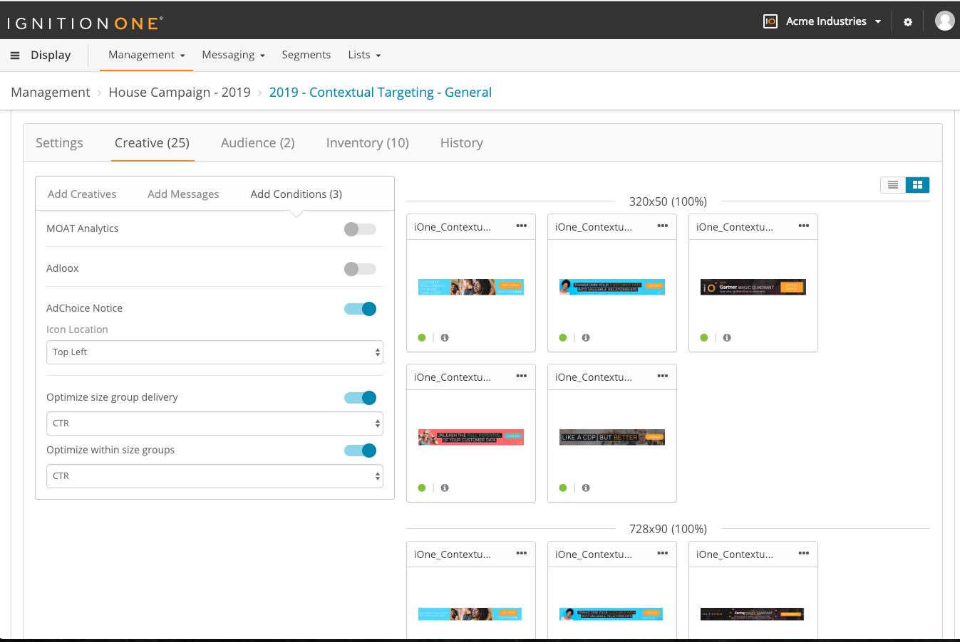 IgnitionOne Customer Intelligence Platform Demo - Creative Library