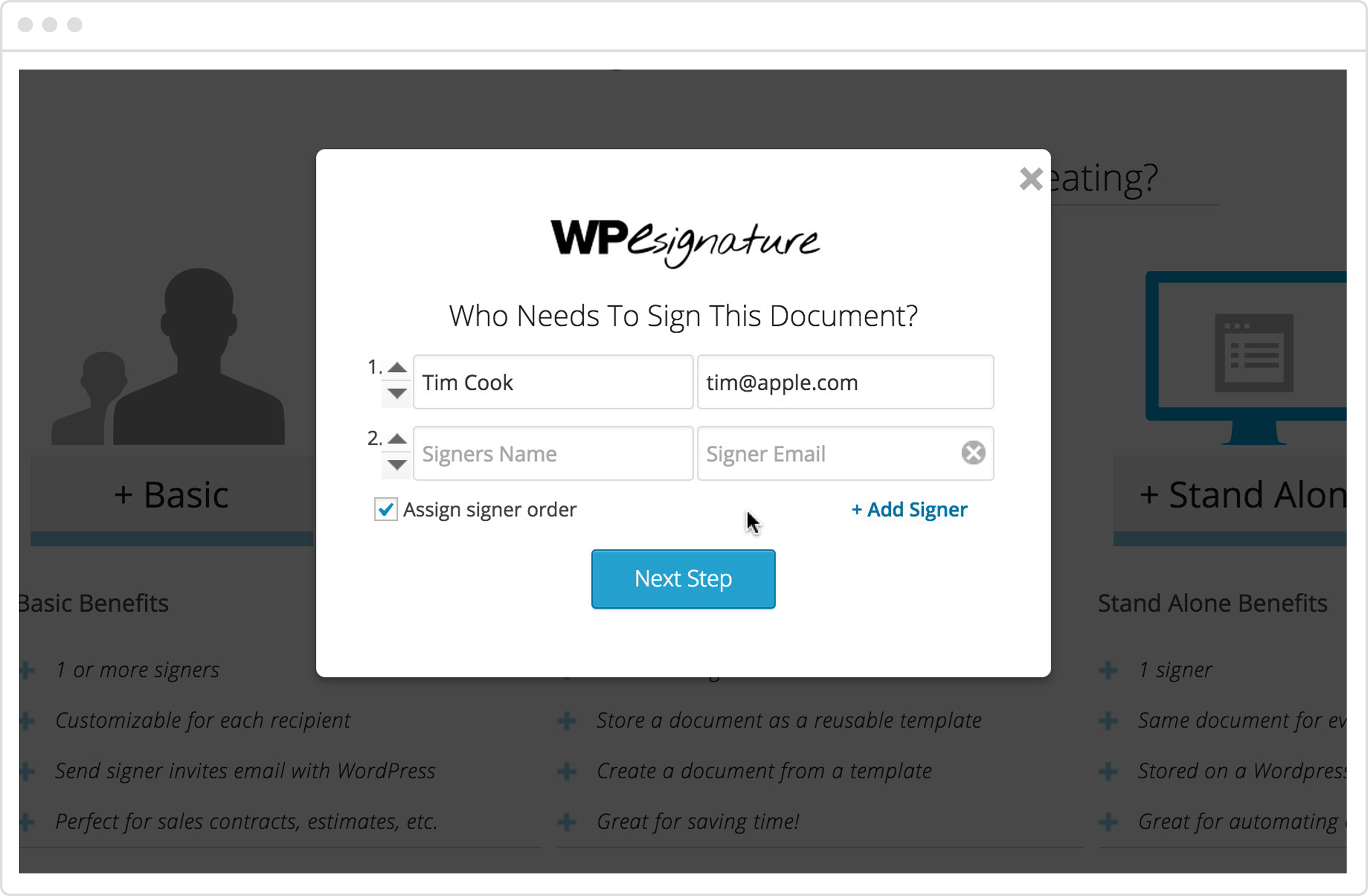 WP Digital E-Signature Demo - Easily Add and Assignthe signing order of signers for your document