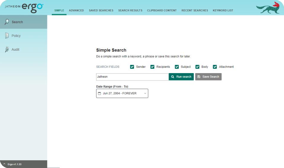 Jatheon Archiving Suite Demo - Jatheon Archiving Suite - Simple Search