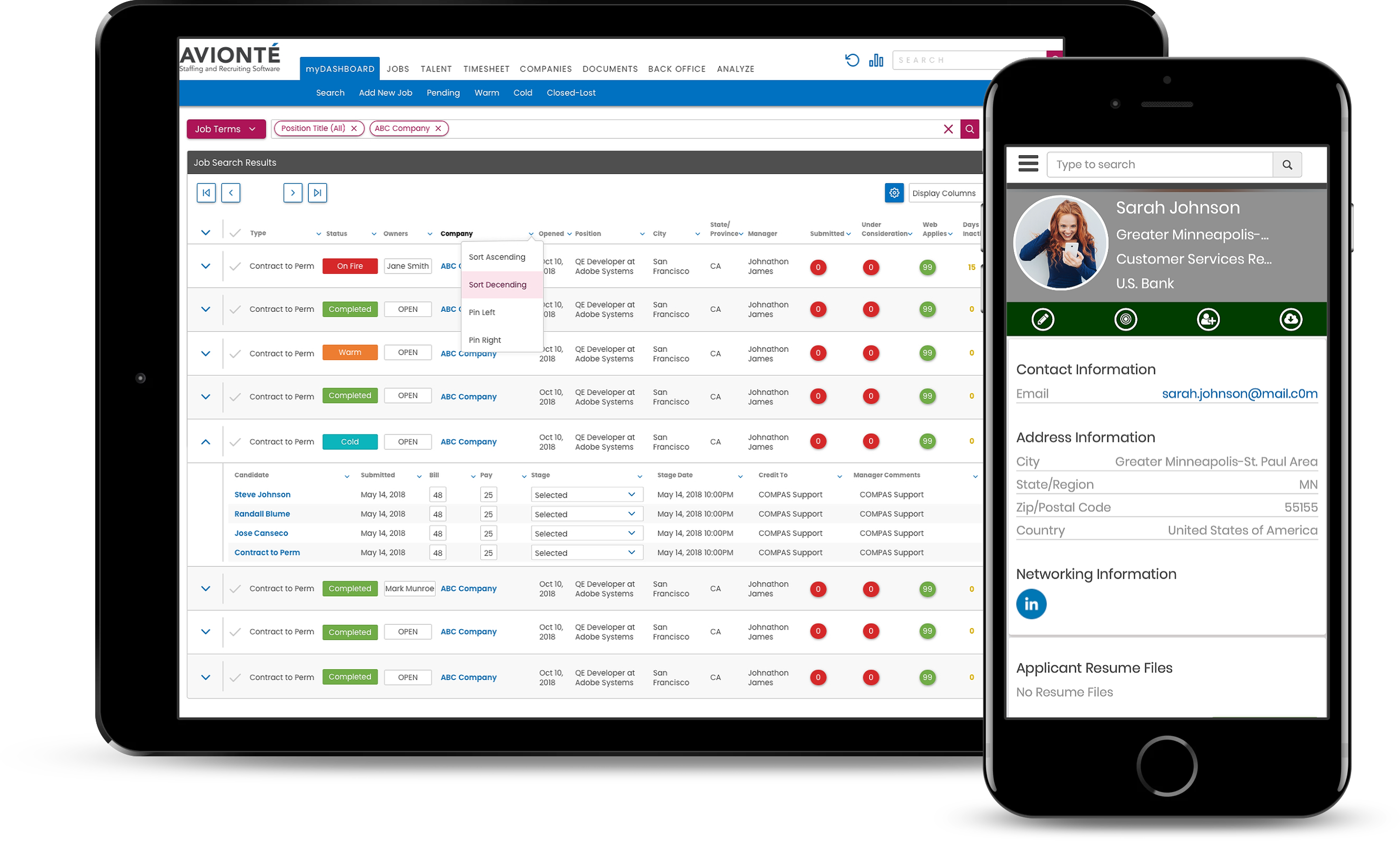Avionté Staffing and Recruiting Software Demo - CONNECT: ATS & CRM