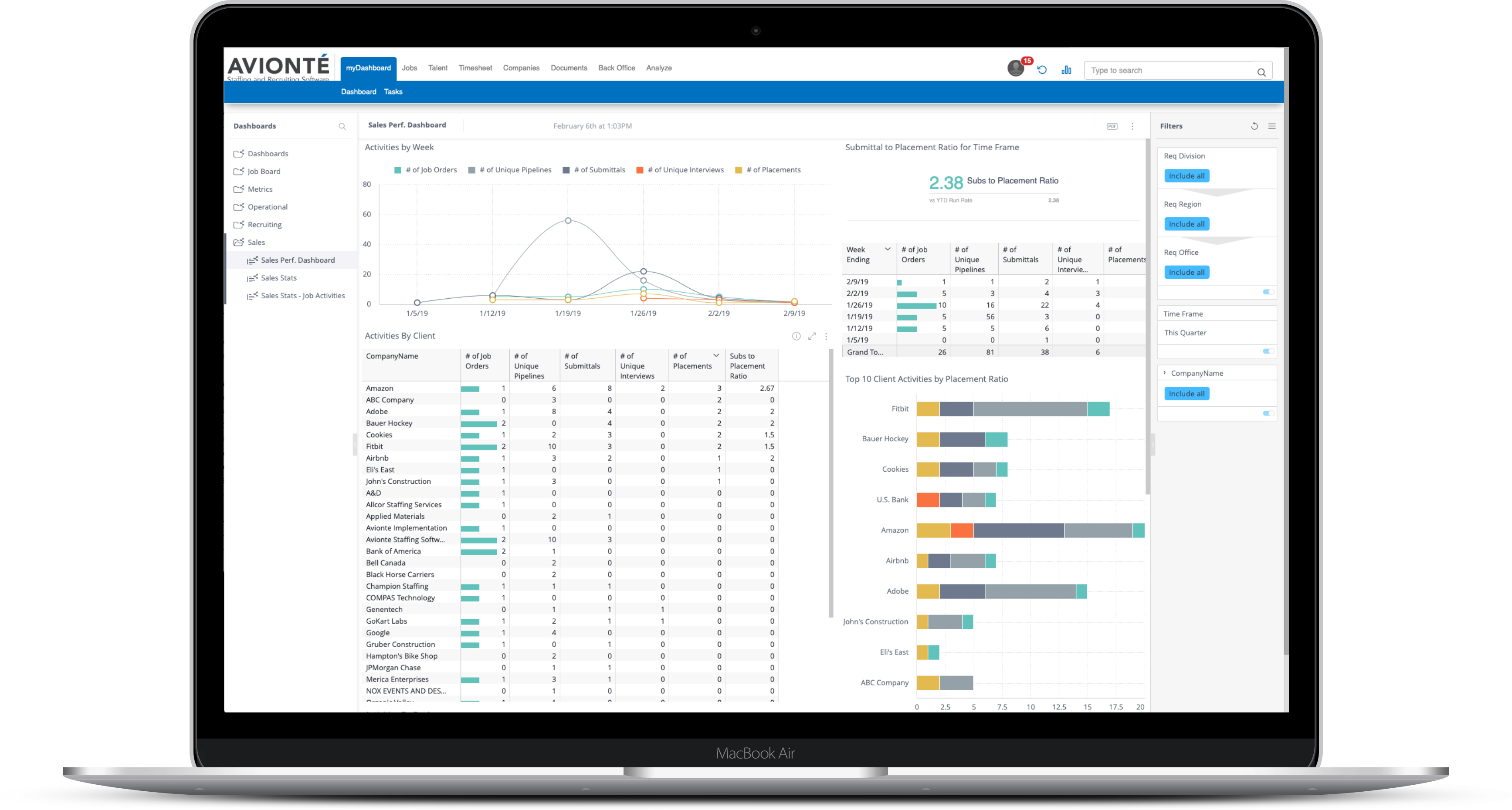 Avionté Staffing and Recruiting Software Demo - ANALYZE: Business Intelligence & Reporting