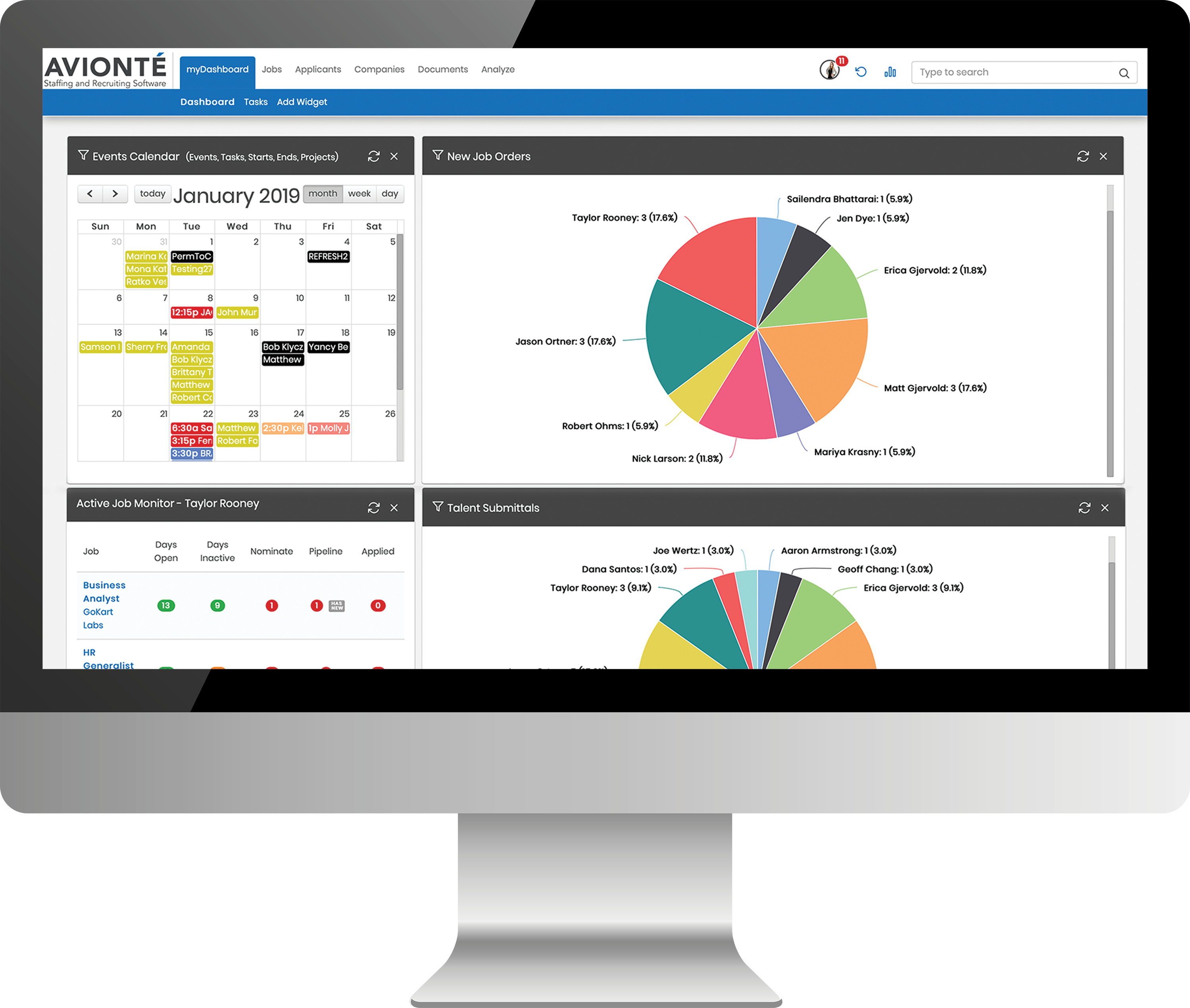 Avionté Staffing and Recruiting Software Demo - Dashboards Your Entire Organization will get Excited About