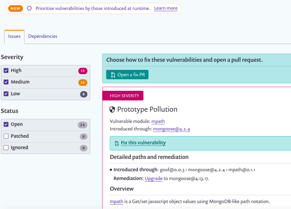 Snyk Demo - Issue-Detection, Management, and Remediation