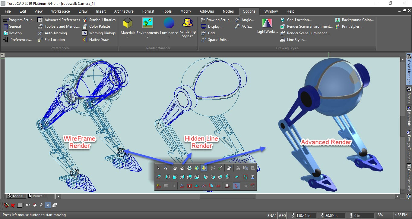 TurboCAD Demo - Rendering Types