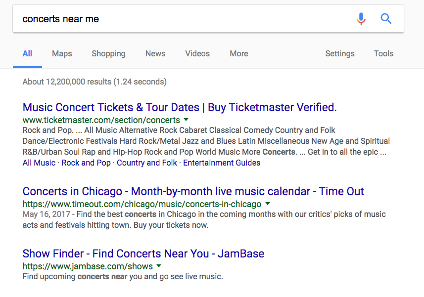 Google event searches